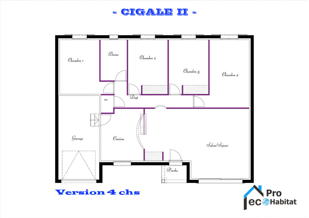 Plan du modele Cigale 2 version 4 cahmbres